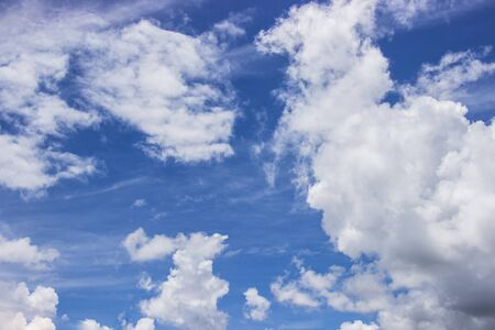 The vast blue sky is bright and beautiful white clouds for background.