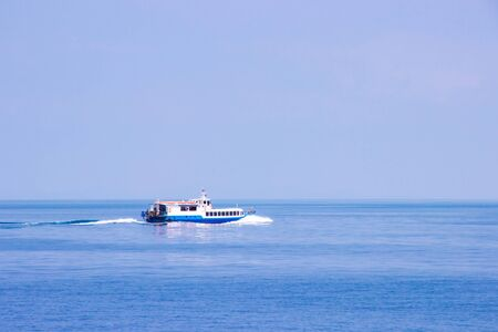 Service tourist high speed ferry boat go to koh kood and koh mak island in Trat province, Thailand. Soft focus.