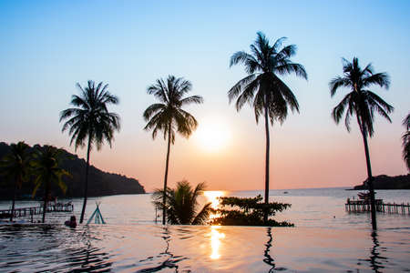 Sunset reflecting on the water surface foreground with coconut trees area ao bang bao at Koh kood island is a district of Trat Province. Thailand. Standard-Bild