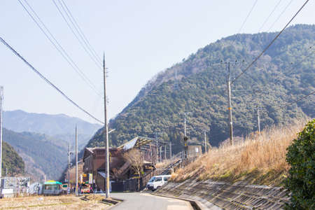 Sagano torokko or sagano romantic train station. It is a train route for sightseeing popular in Kyoto. Standard-Bild