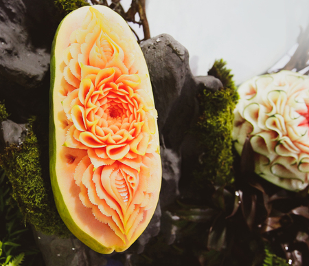Fruit and vegetable carvings, Display thai fruit carving Stok Fotoğraf