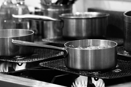 Steel pots, Stainless steel kitchenware Black & White, stove cooking, Utensils for cooking