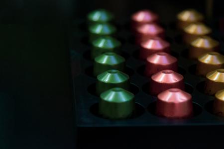 espresso coffee capsules, Coffee capsules for a coffee machine, close up