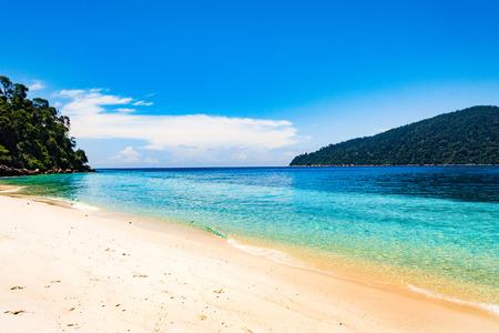 Long tail boat on tropical beach, Andaman Sea Thailand