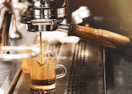 Espresso machine brewing coffee.