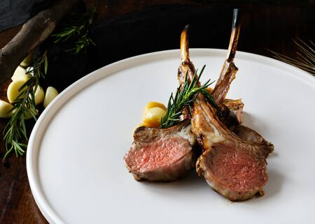 Grilled lamb chops, Lamb steak on plate on the dish Stock fotó