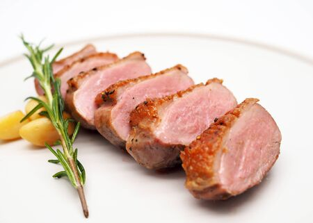 Grilled duck breast slices, with rosemary Stok Fotoğraf