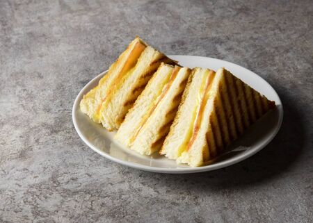 Sandwich, Grilled ham with cheese sandwich on a plate