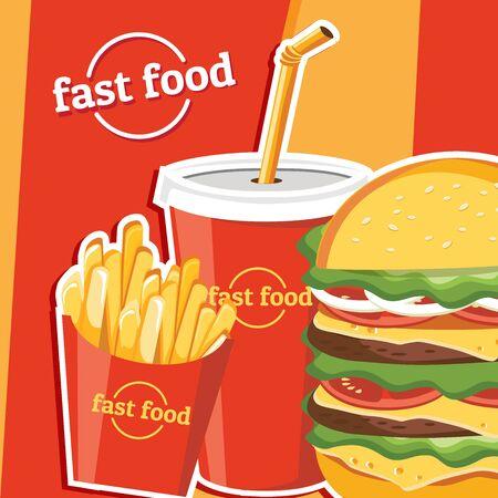Fast food hamburger, tasty set fast food vector