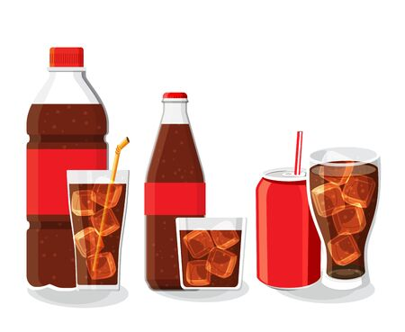 Soft drink bottle and glass set vector illustration