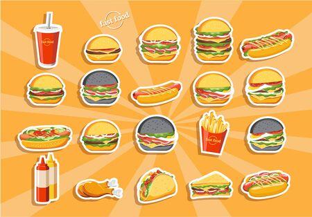 Fast food hamburger, tasty set fast food vector Ilustración de vector