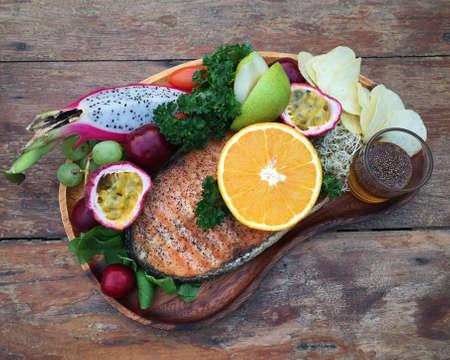 salmon steak: Salmon Steak with fruit salad