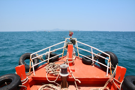 Head of boat on the blue sea