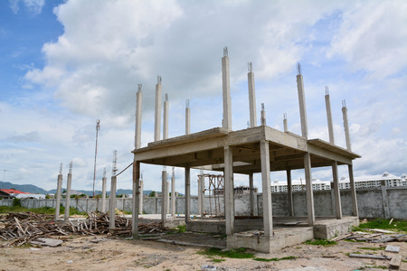 structure house,reinforced concrete in construction site Stock Photo