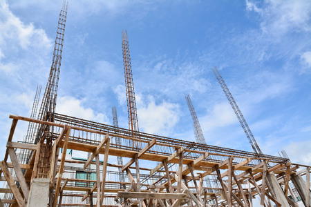 precast: structure house,reinforced concrete in construction site Stock Photo