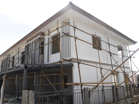 scaffolds: Bamboo scaffolding for painting at site construction