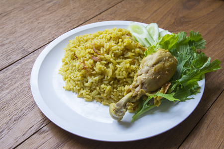 Halal food Arab rice with chicken