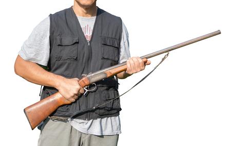 Man holding a shotgun on white background