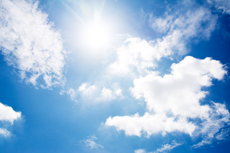 cloud blue sky and sun background Stock Photo