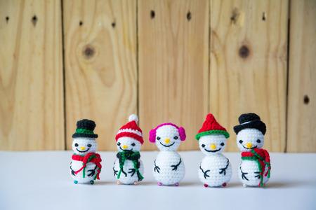 Handmade crochet  knitting snowman dolls for Christmas Concept