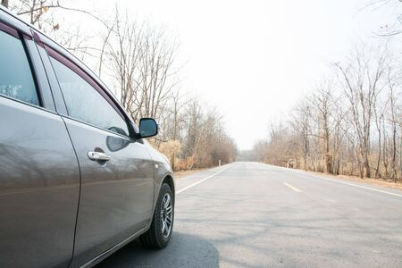 Car on Asphalt road in Autumn forest