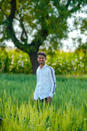 Young indian man standing at green wheat field