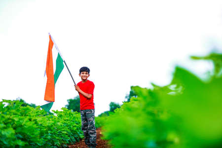 Cute little boy with Indian National Tricolor Flag Stockfoto - 164406242