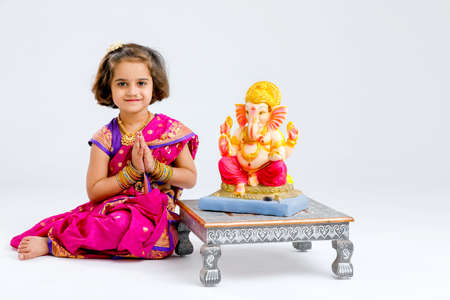 Little indian Girl with lord ganesha