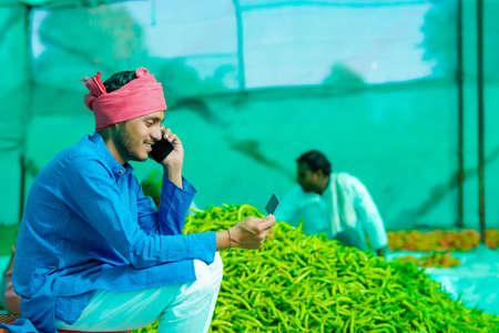 Young indian farmer talking on smartphone at green chilly field