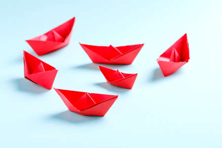 paper boat , business concept and background. Banco de Imagens