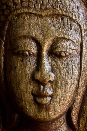 wood craft: Wood craft Lord Buddha face Stock Photo