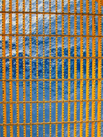 metal yellow grating bridge and over sea