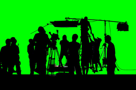 A shot of green screen working group of production.