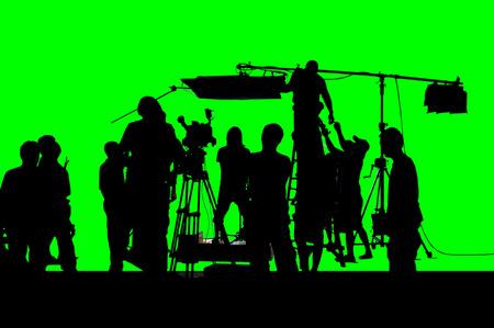 Ein Schuss der Greenscreen-Arbeitsgruppe der Produktion. Standard-Bild