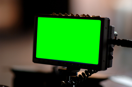 A shot of green screen on monitor.