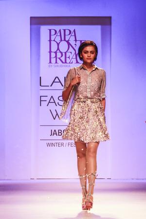 dont walk: Model walks the ramp during Lakme India Fashion Week Winter Festive 2014, Mumbai