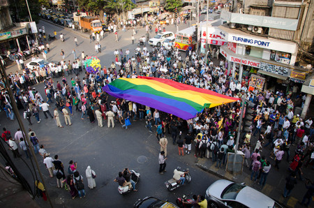 activism: Participants of the Mumbai Pride Walk 2014