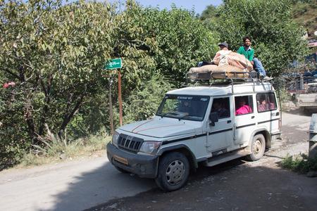 A passenger car in a rural indian village of Uttarakhand