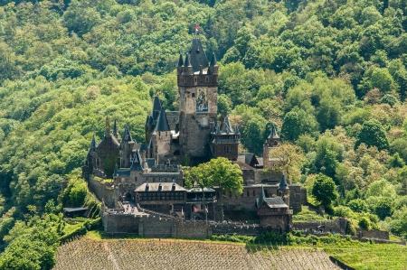 burg: View of Reichsburg Castle in Cochem in Germany from Pinnerkreuz