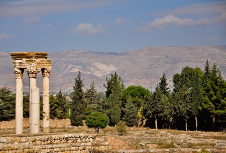 archaeology: Ruins of the Umayyad city of Anjar in Bekaa Valley in Lebanon