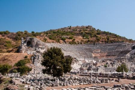 open air: Ruins of open air greek-roman amphitheater in ancient city of Ephesus near Selçuk town of Izmir city in Turkey Stock Photo