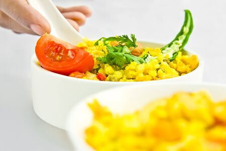 dinnertime: Decorating delicious food of rice and salad in beautiful bowl