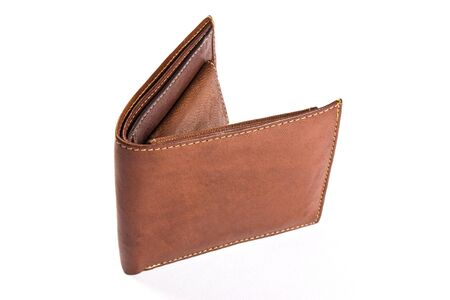 Isolated brown wallet on white background. Stock Photo - 4554157