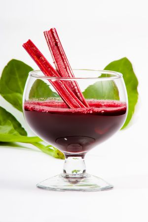 Fresh spinach  and beetroot juice isolated white background