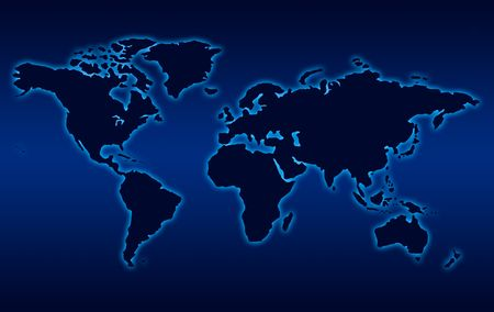 Map of world in black  like nigh with blue  background   Stock Photo