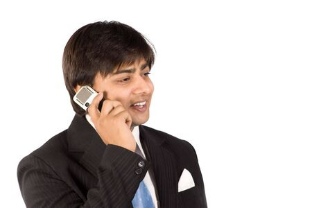 somebody: Business man in professional black suit call to somebody with cell phone