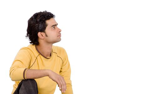finding the cure: Man on white background looking at sky and think something positively