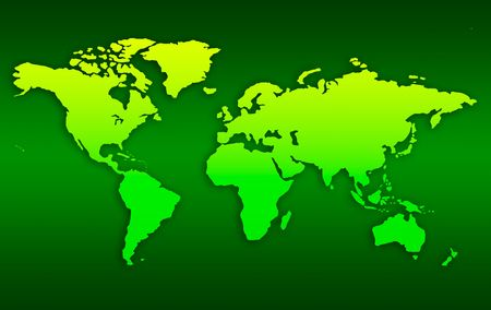 White map of world over neon green background