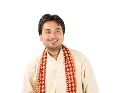 kurta: Young handsome man in Indian traditional dress Stock Photo