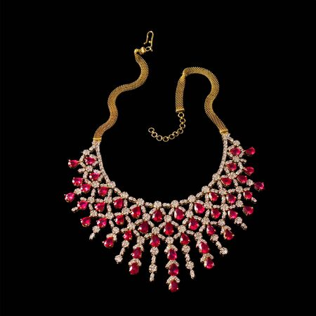 Close up of diamond necklace on black background Stock Photo